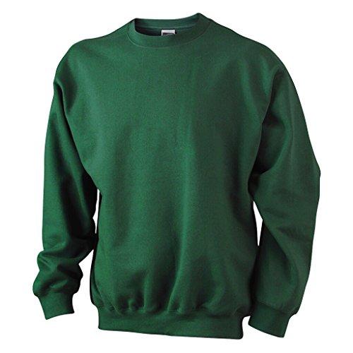 JAMES & NICHOLSON Klassisches Komfort Rundhals-Sweatshirt Dark-Green