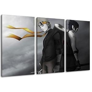 Naruto und Sasuke Motiv, 3-teilig auf Leinwand (Gesamtformat: 120×80 cm), Hochwertiger Kunstdruck als Wandbild. Billiger…