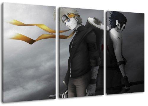 Naruto et Sasuke image, 3 pièces sur toile (taille totale: 120x80 cm), art de haute qualité d'impression comme une fresque. Moins cher qu'une peinture à l'huile! ATTENTION NO affiche!