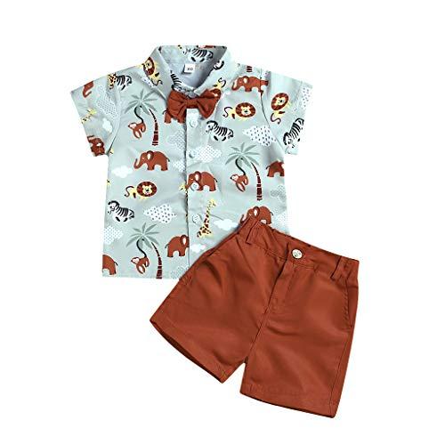 Julhold Kleinkind Baby Jungen Mode Niedlich Kurzarm Cartoon Tiere Baumwolldruck Hemd Feste Shorts Outfit 0-4 Jahre