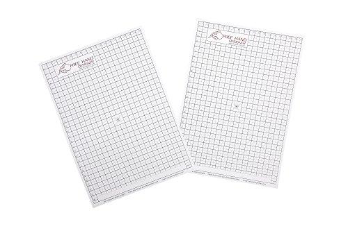 2 x A4 'Freihändiges Designer' Blatt. 2 x Gitterblatt . Schablone für perfekte gerade Linien. Gitterblatt ermöglicht Maßzeichnungen zu erstellen. -