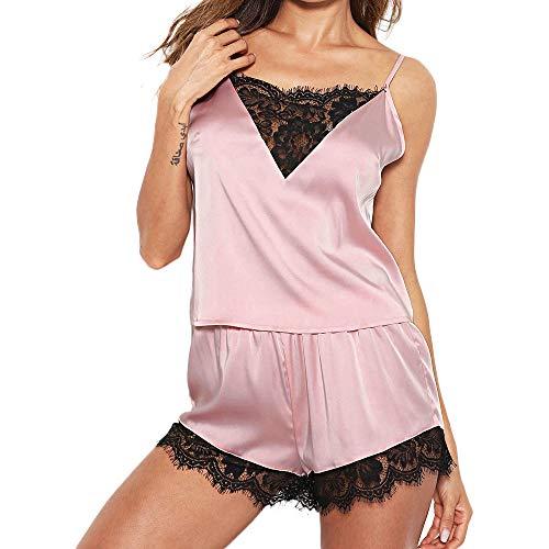 Kobay - donna - sleepwear - cinturino senza maniche - camicie da notte - camicetta di raso cami - top - set da pigiama