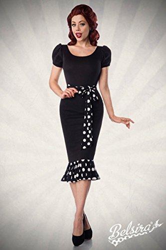 Belsira Jersey Kleid - Bleistiftkleid im Retrostil mit Rundhals Ausschnitt - kurze Puffärmelchen - angerüschter Saumvolant - A50028 schwarz (Sw 16)