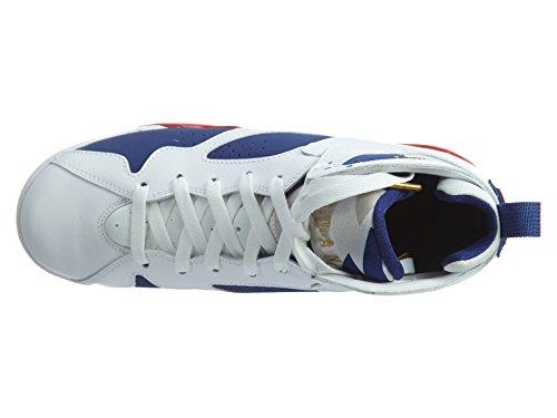 Nike Air Jordan 7 Retro Bg, Chaussures de Sport-Basketball Homme Blanco (Blanco (white/mtlc gold coin-deep royal blue))