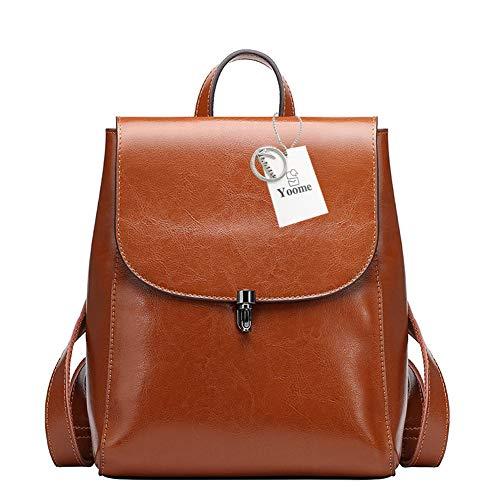 Yoome Kuh Leder Rucksack Geldbörse große Kapazität stilvolle Frauen Tasche für Multi-Way-Umhängetasche Handtasche braun