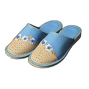 91/5000 handgemachte reine Leder Luxus Ozean hellblau Frauen Pantoffeln Blumen plus Größen 37-42