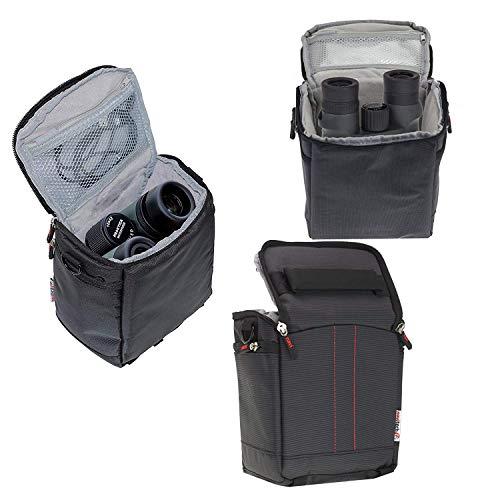 Navitech - Schwarz robust stabile Fernglastasche/Tasche/Fall Fernglas kompatibel mit Braun Premium 8 * 56 WP-ED (mit Schultergurt)