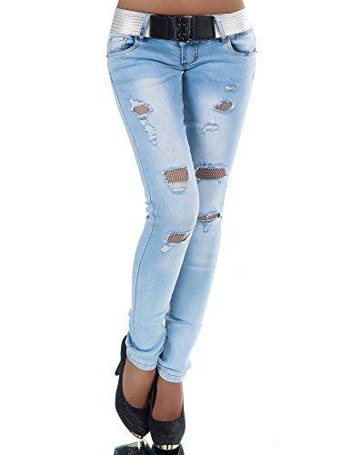 N385 Damen Jeans Hose Hüfthose Damenjeans Hüftjeans Röhrenjeans Röhrenhose Röhre, Farben:Blau, Größen:36 (S)
