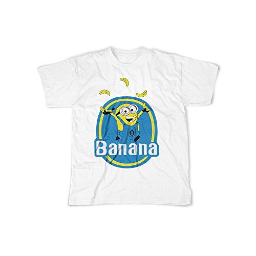 rt mit Aufdruck in Weiß Gr. XL Kleine Gelbe Monster Banana Design Boy Top Jungen Shirt Herren Basic 100% Baumwolle Kurzarm (Bananen-mann-outfit)