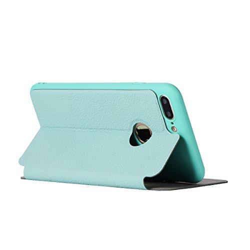 Custodia iPhone 8 Plus, Flip Premium Portafoglio Custodia in sintetica Protettiva Custodia [Cuffie Custodia] per iPhone 8 Plus. (Sakura Pink) Verde Menta