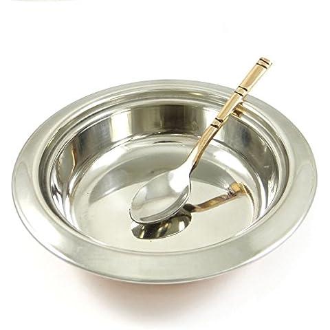 Cobre Acero Especial Tradicionalmente Diseñado Sirviendo Tazón Con La Cuchara Vajilla Utensilios de cocina Vajilla de 3 piezas