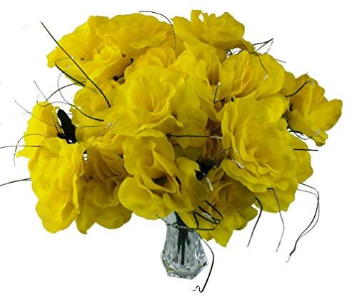 MM TJ Products 4 künstliche Rosen + Vase aus Acryl gelb