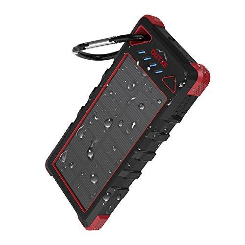 OUTXE IP67 Power Bank Solare Impermeabile Portatile 16000mAh Robusta con Doppia USB (Nero+Rosso)