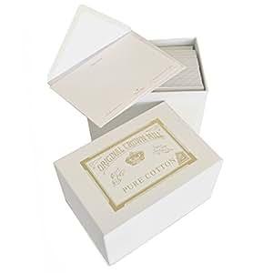 Original Crown Mill Cotton Une Boîte de Luxe comprenant 50 x Cartes et 50 x C6 Enveloppes doublées - Blanc Pur