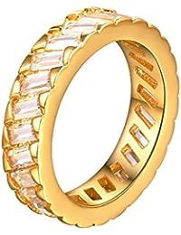 Suplight Anillo de Compromiso para Mujer Hombre Chapado en Platino/Oro de 18K con 3.5