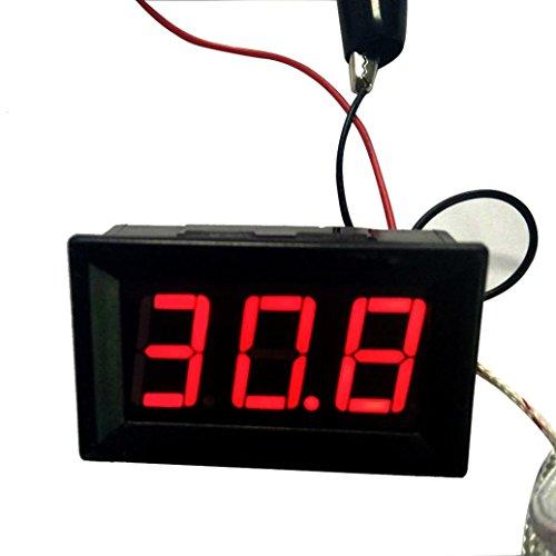 SO-buts LED-Temperaturfühler DC12V Thermoelement K Typ -30~800 ° C Hochtemperatur-Digitalthermometer (SchwarzA) -