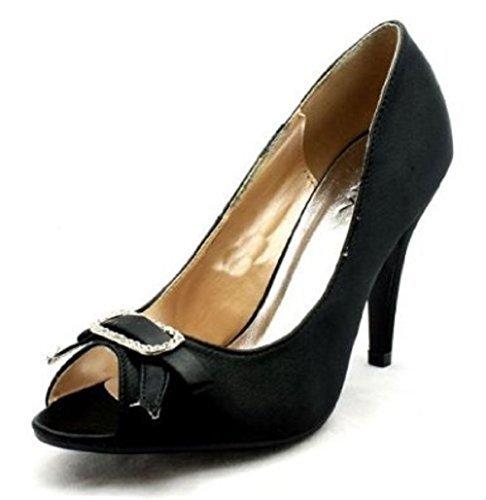 Mesdames satin peep toe judiciaires chaussures de strass arc Noir