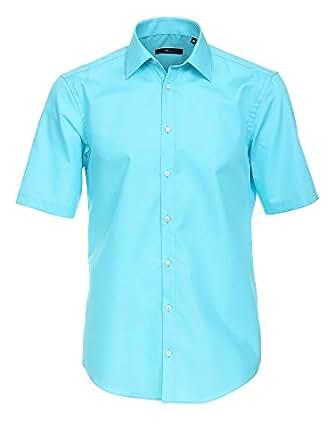 Venti Herren Businesshemd 001620 Baumwolle auch große Größen Kurzarm Slim FIt hellblau 37/S