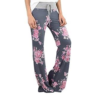 Luckycat Neue Damen Blumenmuster Weite Bein Lange Hose Baggy Schlaghose Boot-Cut Hosen Blau Pants Damenmode Bekleidung 2018