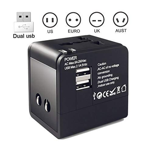 0 ℃ Outdoor Internationaler All-in-One-Adapter für Reiseadapter, weltweiter Reiseadapter, mit Zwei USB-Ports und Universal-AC-Buchse Geeignet für jedes Land, in das Sie gehen,Black