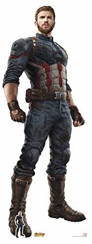 Star Einbauöffnungen 71Offizielles Marvel Charakter aus Karton, Lebensgröße Captain America Steve Rogers (Avengers: Infinity Krieg) Chris Evans, mehrfarbig