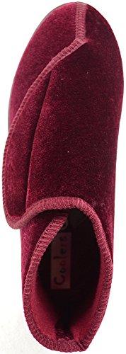 Damenschuhe/Slipper/Boots für orthopädische Füße mit extraweitem Klettverschluss Burgund