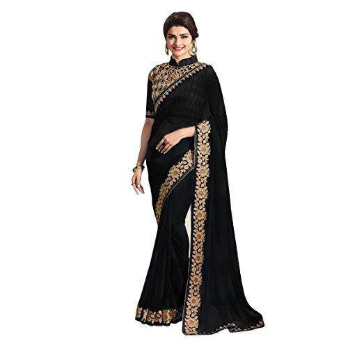 sarees below 1500 rupees sarees new collection partywear saree 2017 Black Colour...