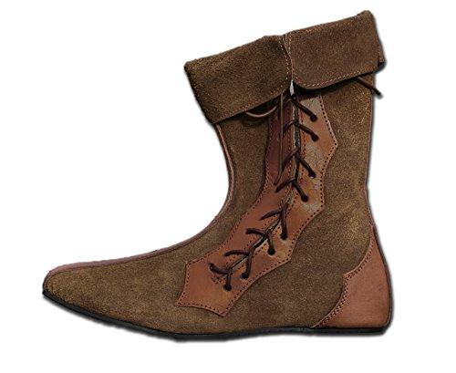 CP-Schuhe Mittelalter Halb-Stiefel Echt-Leder (38, Braun)