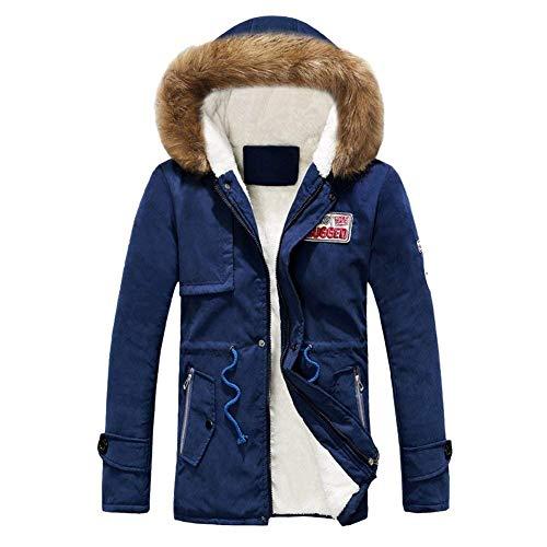 Qk-lannister giacca invernale da uomo parka giacca cappuccio con velluto in ragazzo giacca invernale pesante con cappuccio cappotto invernale capospalla (color : blau, size : s)