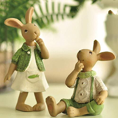 Funihut - decorazione in resina a forma di coniglio pasquale, ornamenti artigianali, ornamenti per la casa, in resina, idea regalo, mâle lapin assis +femme lapin debout