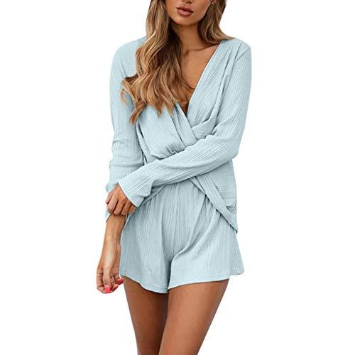 Lonshell Damen Mode Zweiteiliger Set Unregelmäßig V-Ausschnitt Langarmshirt Tops mit Sommerhosen Shorts Playsuit High Waist Elegant Hotpants Kleidung
