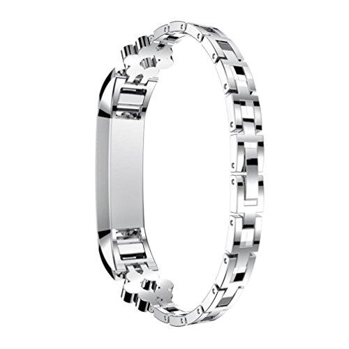 Türkei Echter Luxus Edelstahl Kristall-Armbanduhr Armband klein Band für Frauen für Fitbit Alta HR/Fitbit Alta Uhr, (Rose Gold, Silber)