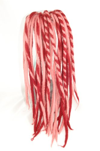 Cherry and Pink wool dreads - Handmade DE double ended dreadlocks