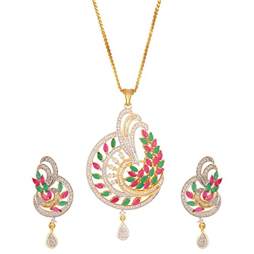 swasti Jewels americano femminile diamante pavone cz Zircon Gioielli Set Orecchini Pendenti, base metal, colore: Multi-Colour, cod. AIBPE36M