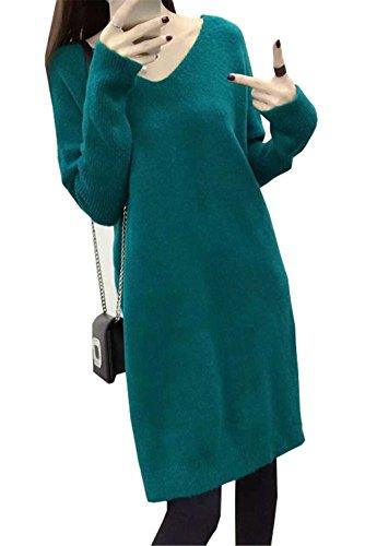 JOTHIN 2017 Donna Autunno Inverno Corea Hem Cracking Larghi Eleganti lunghe Maglieria Tinta Unita fasciante Casual Maglia Camicette Pullover Manica lunga Collo V Maglioni Blu