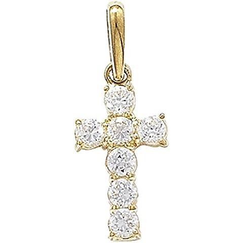 Da uomo in oro 9ct 7pietra ciondolo croce con zirconi su catenina barbazzale