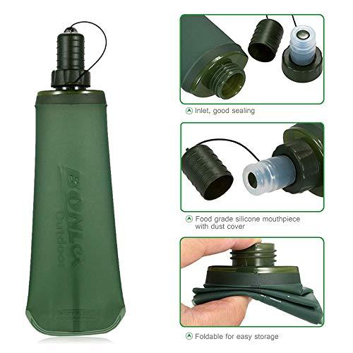 PAWACA Paawaca Faltbare Wasserflasche, weiche Flasche, TPU-Reise-Wasserflasche, leicht, tragbare Trinkflasche für Camping, Rucksackreisen, Wandern, Klettern, Outdoor-Aktivitäten, 500ml