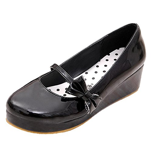 TAOFFEN Femmes Tricoter Plateforme Chaussures Black-6315