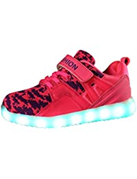 O&N Children Boys Girls LED Light Up Trainers USB Charging Sneakers Running Shoes