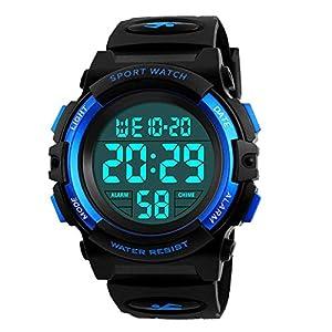 Digital Uhren für Kinder Jungen – 5 ATM Wasserdicht Sports Outdoor Digitaluhren Kinder Silikon Armbanduhr mit Wecker/Stoppuhr/LED-Licht/Stoßfest/Datum,Elektronische Kinderuhren Blau