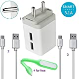 #7: Samsung Galaxy J7 for Compatible Mobile Charger,3.1 Amp High Speed Adapter Fast Charger |Dual Port Charger 100% Better Than Original Charger !!|2 High Speed USB Cable and with Free USB Led Ligh