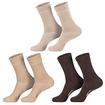 6 Paar Damen Komfort Socken mit extra weichen & breitem Bund ohne Gummi aus hochwertiger Baumwolle (schwarz, weiss, beige, braun, marine)