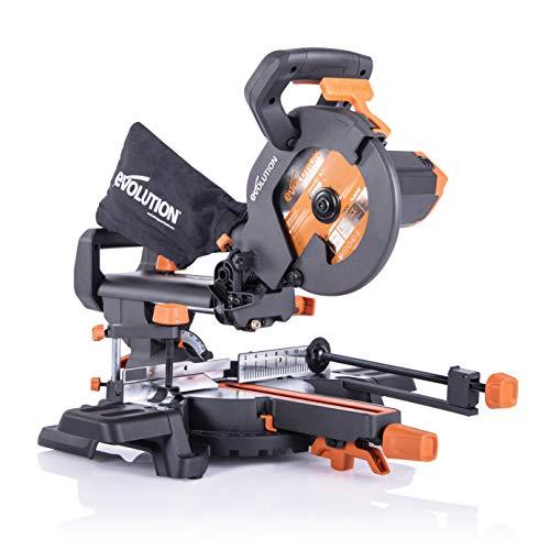 Evolution Power Tools - Scie à Onglets Coulissante Multi-matériaux R210SMS+ avec le pack Plus, 210 mm (230 V)