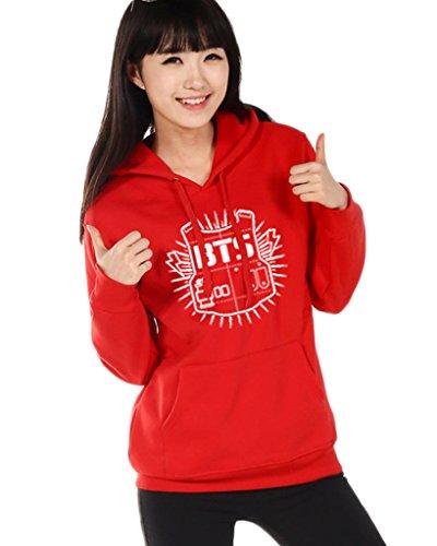 Minetom Mujer Manga Larga Capucha Suéter Kpop BTS Sudaderas con capucha Bangtan Boys Capa Hoodies Pullover Outwear Rojo ES 40