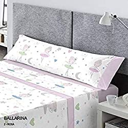 CATOTEX - Juego sábanas infantil BALLARINA Catotex. Cama de 105 cm. Color Rosa - Sedalinne
