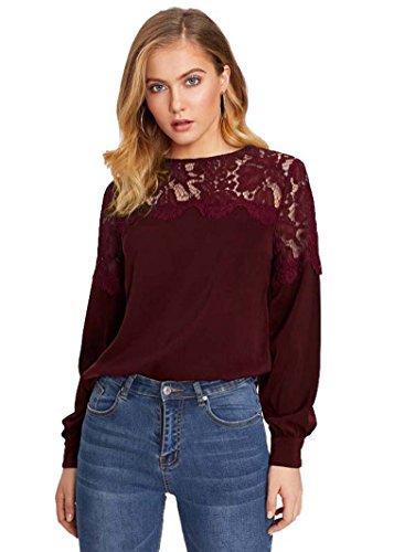ROMWE Damen Elegant Bluse mit Blumenmuster-Spitze Langarm Shirt Oberteil Burgundy L