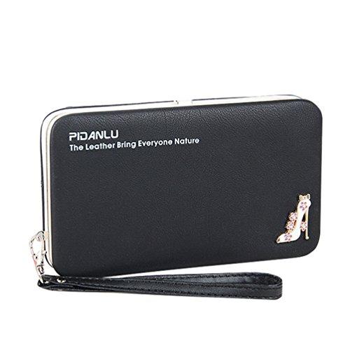 DNFC Geldbörse Damen Portemonnaie PU Leder Geldbeutel Portmonee Elegant Clutch Geldtasche Frauen Handgelenktasche Handtasche Geeignet für Handys bis zum 5.5 Zoll (Schwarz)