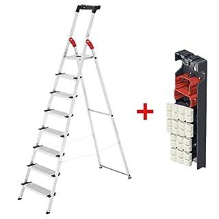 Hailo 8 Stufen Alu-Sicherheits-Haushaltsleiter XXL mit Multifunktionsschale und inklusive gratis Wechselfüße living - Max. Arbeitshöhe 345 cm