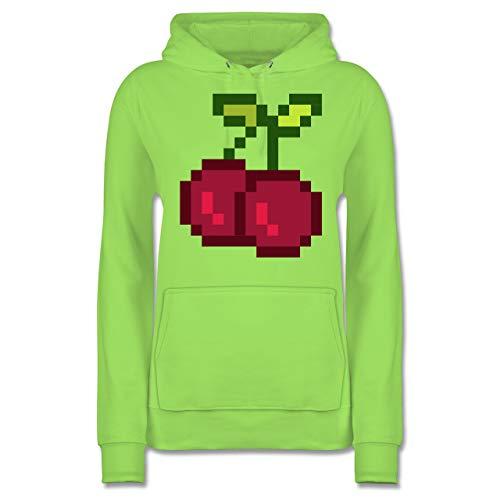 Für Erwachsenen Kirsche Kostüm - Shirtracer Karneval & Fasching - Pixel Kirsche - Karneval Kostüm - XXL - Limonengrün - JH001F - Damen Hoodie