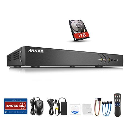 ANNKE CCTV TVI DVR Recorder Überwachungssystem 16CH 3.0MP Netzwerk Digital Video Recorder H.264 für Videoüberwachung Aufzeichnungsgerät Bewegungserkennung Fernüberwachung mit 1TB Festplatte
